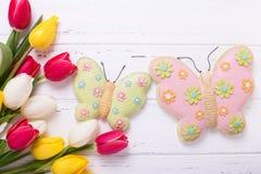 Fleurs jaunes, roses et blanches lumineuses de tulipes et Bu décoratifs Images libres de droits