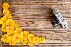 Fleurs jaunes sur un fond et un appareil-photo en bois Photographie stock libre de droits
