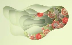 Fleurs ?l?gantes de papier et fond de papier de couches de trou Saint-Valentin, P?ques, le jour de m?re, ?pousant la carte de voe illustration libre de droits