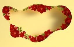 Fleurs ?l?gantes de papier et fond de papier de couches de trou Saint-Valentin, P?ques, le jour de m?re, ?pousant la carte de voe illustration stock