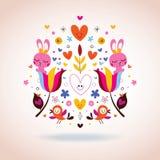 Fleurs, lapins, coeurs et illustration d'oiseaux Image stock