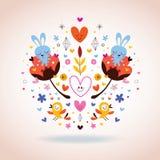 Fleurs, lapins, coeurs et oiseaux Photo stock