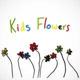 Fleurs, le dessin de l'enfant Images libres de droits
