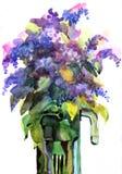 Fleurs lilas d'aquarelle dans un vase illustration libre de droits