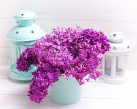 Fleurs lilas de ressort olorful de ¡ de Ð en boîte et turquoise lumineuse et Photo stock