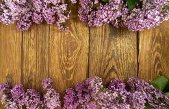 Fleurs lilas sur un fond en bois, cadre photos libres de droits