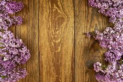 Fleurs lilas sur un fond en bois, cadre photo libre de droits