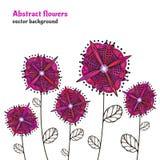 Fleurs lumineuses de griffonnage Vecteur d'isolement par frontière décorative Abrégez les fleurs roses Jardin futuriste, élément  illustration libre de droits