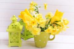Fleurs lumineuses de jonquilles dans la tasse Image libre de droits