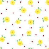 Fleurs mignonnes avec des feuilles et des points de polka Configuration sans joint florale Photographie stock
