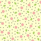 Fleurs mignonnes, feuilles et points ronds Configuration sans joint florale Images libres de droits