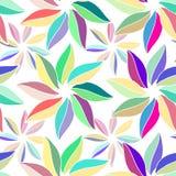 Fleurs multicolores avec des feuilles Sur le fond blanc illustration de vecteur