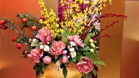 Fleurs multicolores chinoises de nouvelle année au pavillon, Kuala Lumpur Malaysia images stock