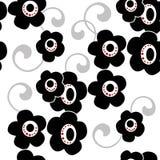 Fleurs noires sur le tapotement décoratif sans couture floral de fond blanc illustration stock