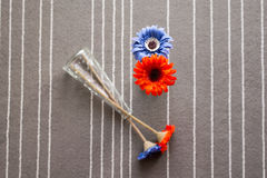 Fleurs oranges et bleues dans le vase photo libre de droits