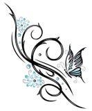 Fleurs, papillon, vrille, tribal Photo stock