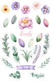 Fleurs peintes à la main d'aquarelle, feuilles et licorne mignonne Images libres de droits