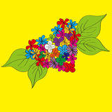 Fleurs peintes à la main de coeur Image libre de droits