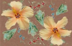 Fleurs peintes de ketmie Illustration Libre de Droits
