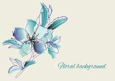 Fleurs peintes de vecteur dans des couleurs bleu-clair douces illustration stock