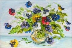 Fleurs, peintures à l'huile d'illustration sur une toile Photographie stock