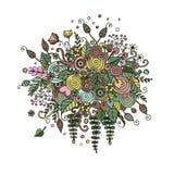 Fleurs réglées de vecteur dans le style de griffonnage Image libre de droits
