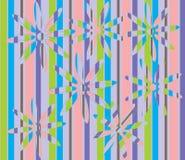 Fleurs rayées sur un backround rayé Illustration de Vecteur