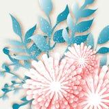 Fleurs roses d'origami avec la brindille, feuilles Coupe abstraite du papier 3D Photos stock