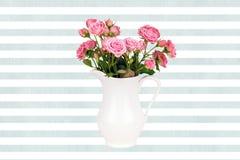 Fleurs roses dans la cruche blanche sur le fond de rayures bleues d'aquarelle Image stock