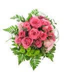 Fleurs roses de roses d'isolement sur le fond blanc Photographie stock libre de droits
