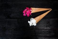 Fleurs roses et blanches dans le cornet de crème glacée sur le fond noir Photographie stock libre de droits