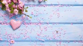 Fleurs roses fraîches de Sakura et peu de coeur décoratif sur le bleu Image libre de droits