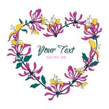 Fleurs roses Guirlande dans la forme de coeur La carte de voeux avec l'aquarelle fleurit sur un fond blanc Illustration Vue Image libre de droits