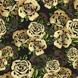 Fleurs roses modèle sans couture, fond d'or de vecteur Conception de luxe, base chère Pour le textile, tissu, papier peint Photos stock