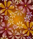 Fleurs roses sur le pourpre de vigne Photo libre de droits