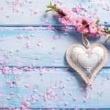 Fleurs roses tendres de Sakura et coeur décoratif sur en bois bleu Photos libres de droits