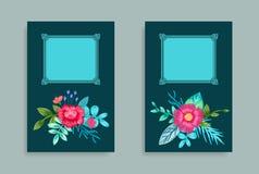 Fleurs roses tirées par la main de conception décorative de cadre Photographie stock libre de droits