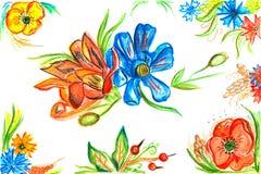 Fleurs rouges et bleues Illustration de Vecteur