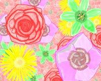 Fleurs rouges, jaunes, lilas, vertes à mémoire d'image Photos stock