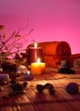 Fleurs sèches, bougies - chromoterapy - magenta photographie stock libre de droits