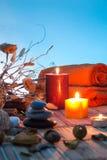 Fleurs sèches, bougies - cyan images stock