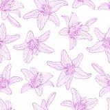 Fleurs sans couture de lis de dessin de modèle Image libre de droits