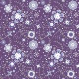 Fleurs sans joint de configuration au fond bleu-foncé Photographie stock