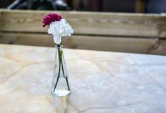 Fleurs simples dans la table de terrasse Photos stock