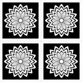 Fleurs simples noires et blanches illustration de vecteur