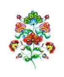 Fleurs slaves d'art populaire Le motif féerique d'aquarelle - oriental - main européenne a ouvré l'ornement floral Images libres de droits