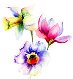 Fleurs stylisées d'été Photos stock