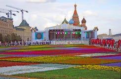 Fleurs sur la place rouge Image libre de droits