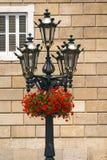 Fleurs sur le courrier de lampe - Barcelone Espagne Image stock