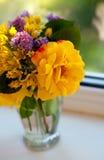 Fleurs sur le fenêtre-filon-couche Photographie stock libre de droits